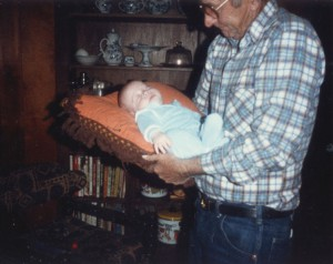 Papaw carried Josh on a pillow.